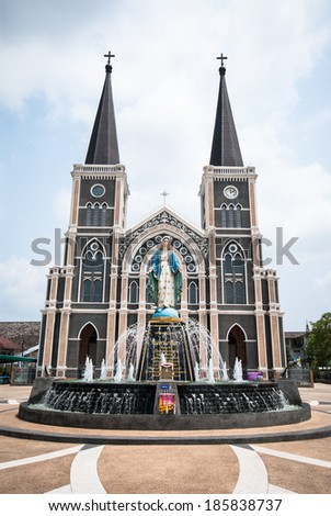 The Catholic cathedral with blue sky in Chantaburi, Thailand - stock photo