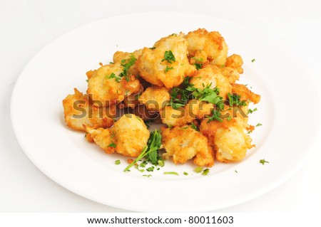 The cauliflower fried in hot fan - stock photo