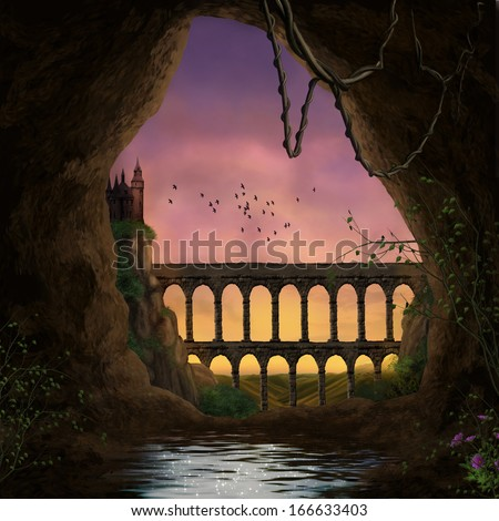 The cave and the castle - stock photo