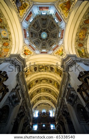 The center dome of St. Rupert in Salzburg Austria is stunningly beautiful. - stock photo