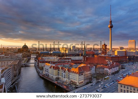 The center of Berlin with the famous Television tower - stock photo