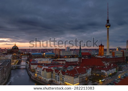 The center of Berlin with the televison tower at dawn - stock photo