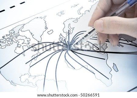 The Center of Europe on map - stock photo