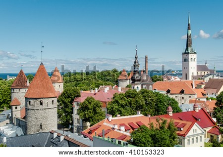 The center of Tallinn, the old city, view of the Church of St. Olaf and Orthodox Church of Estonia - stock photo