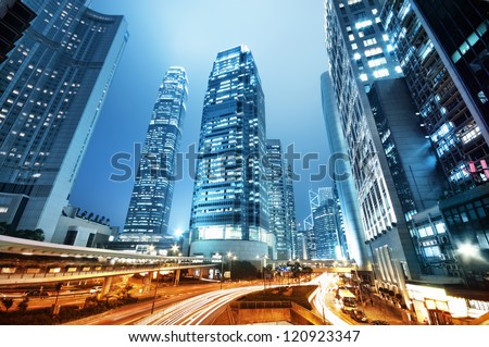 The central business district of Hong Kong with the IFC tower. - stock photo