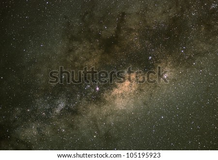 The centre of the Milky Way. Our galaxy. Long exposure photograph from an astronomical observatory site. - stock photo
