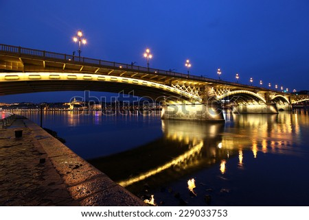 The Chain Bridge in Budapest in the evening. Sightseeing in Hungary - stock photo