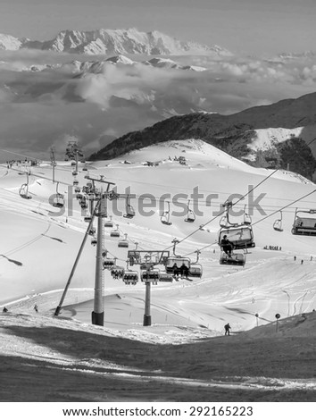 The chair lift and rope tow systems of Kaprun region, Austria (black and white) - stock photo