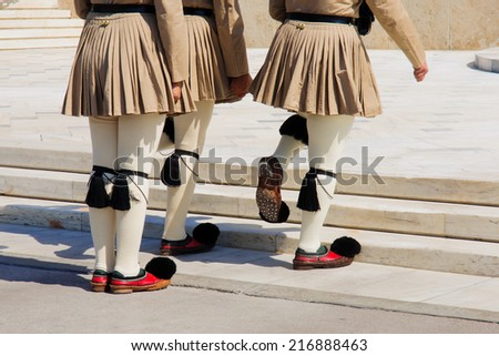 The Changing of the Guard ceremony, which takes place in front of the Greek Parliament Building, in Athens, Greece - stock photo