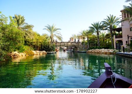 The channel in Souk Madinat Jumeirah, Dubai, UAE - stock photo