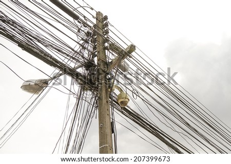 The chaos of cables and wires - stock photo