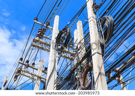 The chaos of cables and wires in Pattaya - Thailand - stock photo