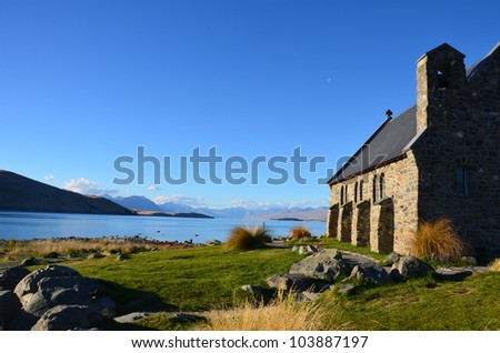the chapel of  the shepherd in NewZealand - stock photo