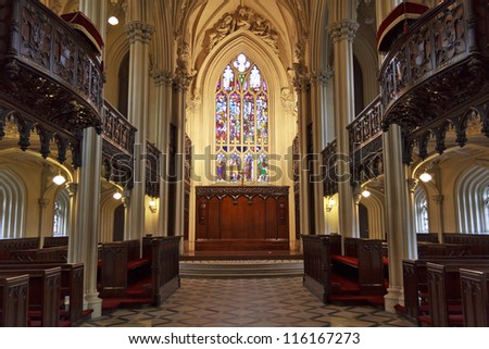 The Chapel Royal is a gothic revival building designed by Francis Johnston. It is famous for its vaulting, its particularly fine plaster decoration and carved oaks and galleries. - stock photo