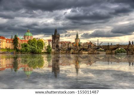 The Charles Bridge in Prague, Czech Republic - stock photo