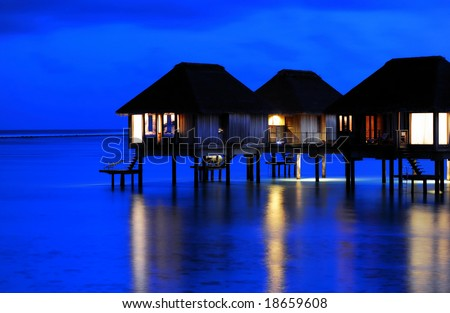 The Charming Night of Water Villa - stock photo