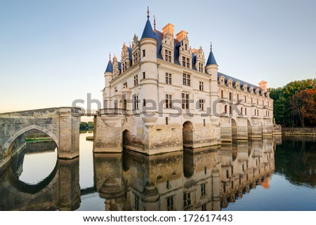 The Chateau de Chenonceau, France. This castle is located near the small village of Chenonceaux in the Loire Valley, was built in the 15-16 centuries and is a tourist attraction. - stock photo