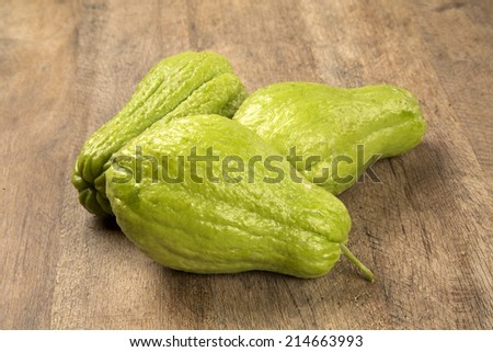 The chayote (Sechium edule) is a vegetable native to south america. - stock photo