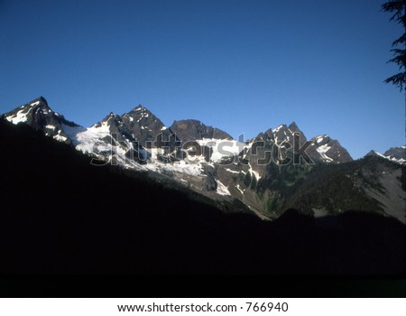 The Cheam Range in the Cascade Mountains near Chilliwack, British Columbia. - stock photo