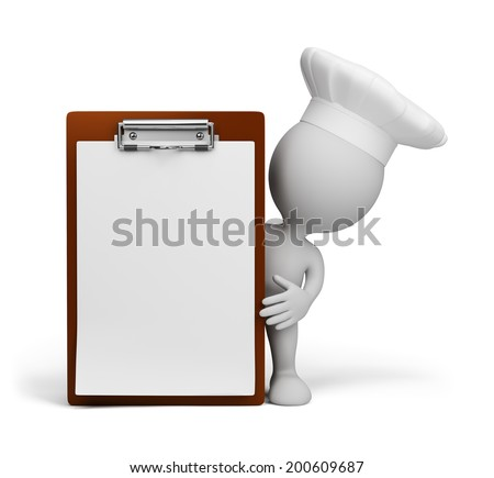The chef presents a menu. 3d image. White background. - stock photo