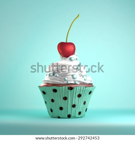 The cherry on the cake metaphor. Delicious cupcake topped with a cherry and whipped cream and sweeties. - stock photo