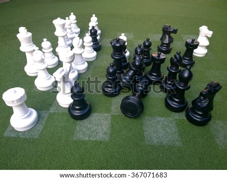 The Chess pieces with grass background - stock photo