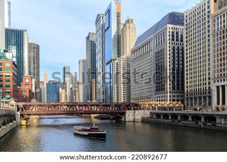 The Chicago River serves as the main link between the Great Lakes and the Mississippi Valley waterways. - stock photo