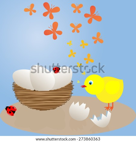 the chicken near the nest with eggs - stock photo