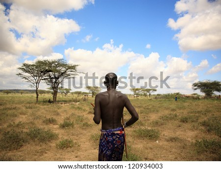 The chief of Samburu village Kenya Africa - stock photo