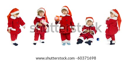 The child in a suit of Santa Klaus - stock photo