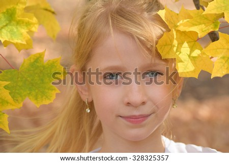 The child's portrait in autumn leaves  - stock photo