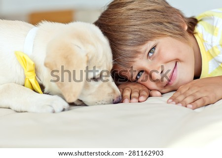 The child with a dog - stock photo
