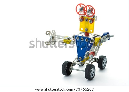 The children's toy-designer, a robot on a white background/ - stock photo