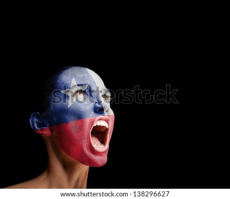 The Chile flag on the face of a screaming woman. concept - stock photo