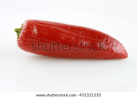 The chili pepper is the fruit of plants from the genus Capsicum.The substance that give chili peppers their intensity when ingested or applied topically are capsaicin collectively called capsaicinoids - stock photo