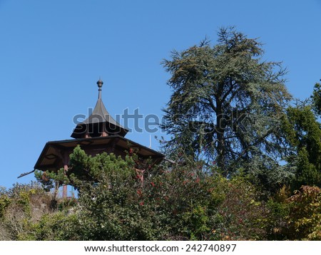 The Chinese Pavillion on Schlossberg hill in Graz in Austria - stock photo