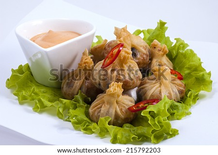The Chinese pelmeni with salad and sauce on a white dish - stock photo