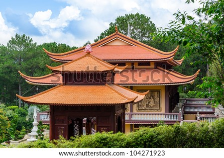The Chinese Temple With Blue Sky Background in Vietnam - stock photo