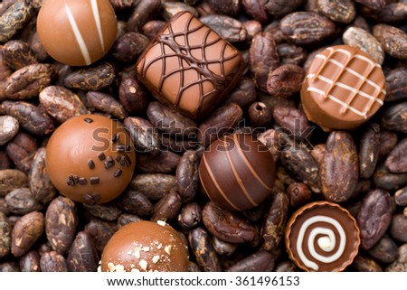 the chocolate pralines and cocoa beans - stock photo