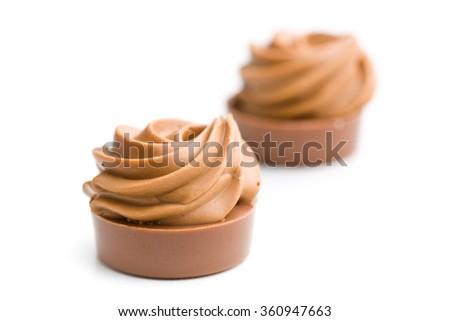 the chocolate pralines on white background - stock photo