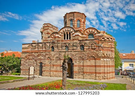 The Christ Pantocrator Curch is dated back 13th - 14th century in Nessebar, Bulgaria. - stock photo
