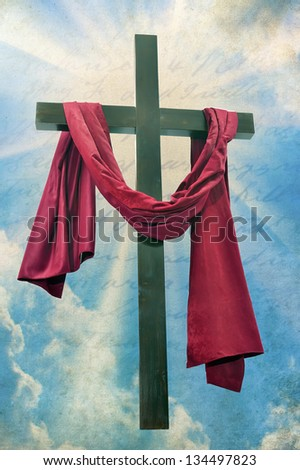 The Christian cross on a background of the sky - stock photo
