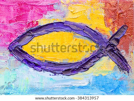 the christian fish  with colorful background in oil  painting - stock photo