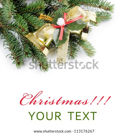 The christmas and New Year Border  isolated - stock photo