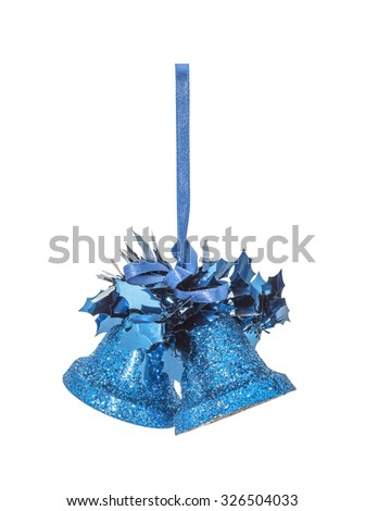 The Christmas blue hanging decoration bell toy  isolated on white background - stock photo
