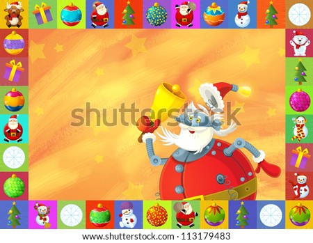 The christmas card - happy illustration for the children - robot - santa claus - stock photo