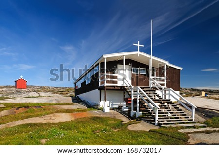 The church (and school) of Rodebay - Oqaatsut, formerly Rodebay, is a settlement in the Qaasuitsup municipality, in western Greenland. It had 46 inhabitants in 2010.  - stock photo
