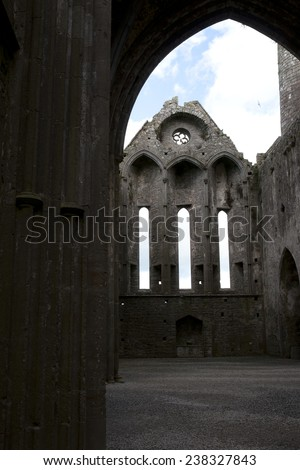 the church at historic rock of Cashel landmark in county Tipperary Ireland - stock photo