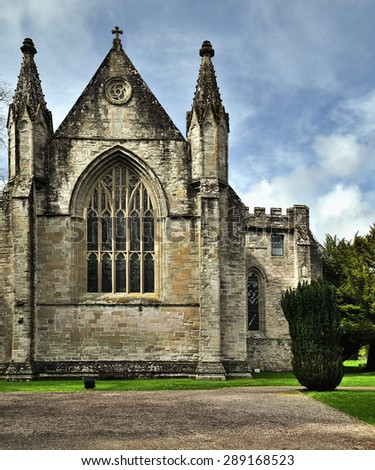The church in Dunkeld has been around a long time â?? over 1400 years â?? dating from the time when Celtic monks set up a base for mission where the River Braan joins the River Tay. - stock photo
