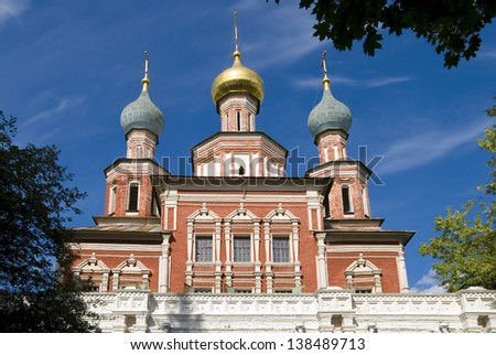 The church in honor Protection of the Virgin  the Novodevichy Convent. Russia, Moscow - stock photo